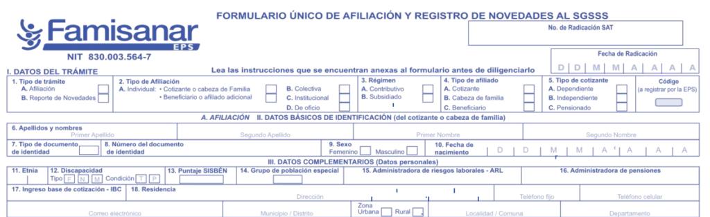 formulario afiliacion famisanar presencial