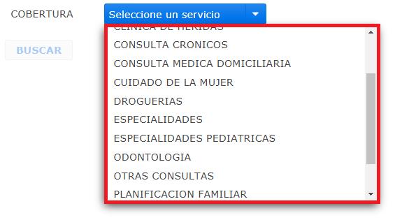 lista servicios medicos